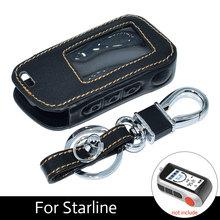 Starlionr A93 4 BTNS Genuine Leather Car Key Cover with Keychain for Starline A93 A63 A39 A36 Two Way Car Alarm LCD Transmitter(China)