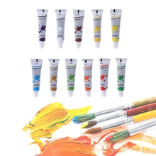 12 Color Acrylic Paints Set Hand Painted Wall Painting Textile Paint 12 ml Tubes Artist Draw Painting Pigment Art Supply