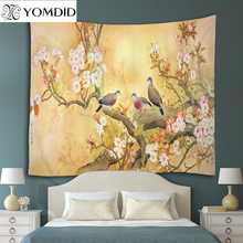 Chinese style Tapestry flowers and birds wall hanging Tapestries Home Decor Beach Towel Yoga Mat Picnic Blanket table cloth(China)