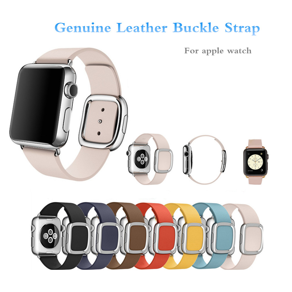 Leather modern buckle band for apple watch 38mm 42mm strap bracelet &amp; 20mm genuine leather watchband watch band strap brown blue<br><br>Aliexpress