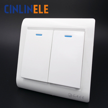 1Pcs Luxury Wall Switch, 2 Gang 1 Way, Ivory White, Brief Art Weave, Light Switch, AC 110~250V  10A 86mm*86mm