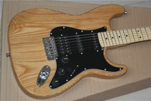 Factory store nature ELM ASH body stratocaster black pickguard HSS pickguardmaple fretboard 6 string Electric Guitar