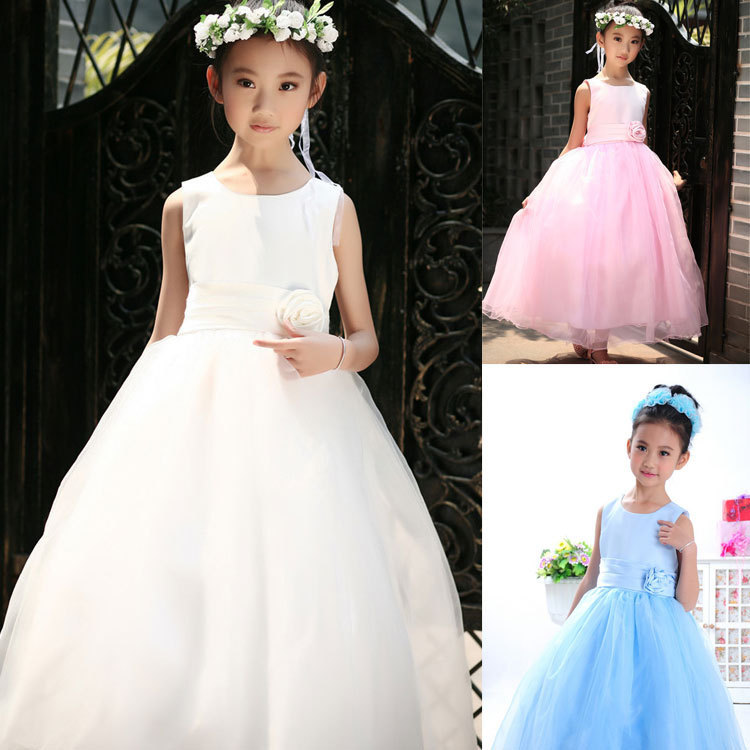 New 2016 Elegant Baby Girls Party Dress Sleeveless White Pink Flower Dresses Bow Princess Kid Pageant Dress Bridesmaid Age 2-13T<br>