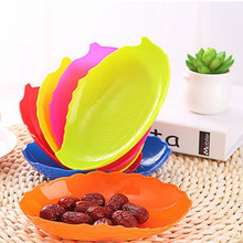 17*12cm Fruit Dish Colors leaf shaped fruit plate plastic bowl Cake plate Snacks Dish Blue Green Orange Pink Red Yellow  choose