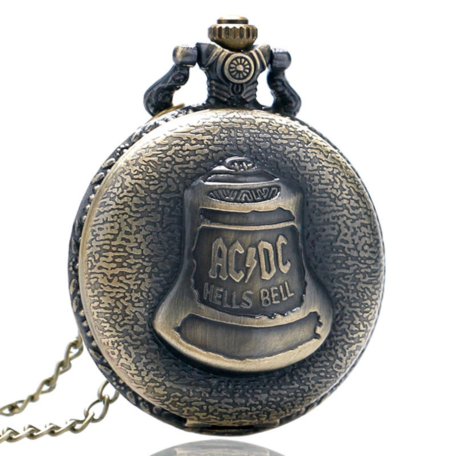 Antique Steampunk ACDC Hells Bell Quartz Pocket Watch Necklace Pendant Retro Men Women Xmas Gift (4)