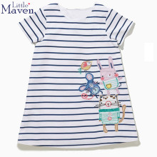 Little Maven children brand clothes 2017 new summer baby girls kids Cotton casual embroidery cartoon mouse mice girl beach dress