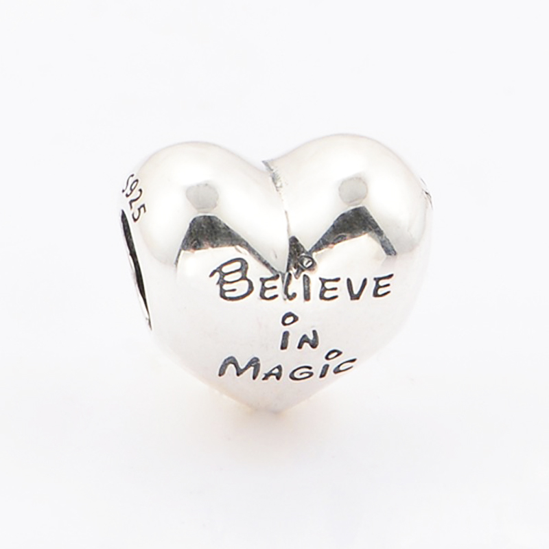 New Perles real 925 Silver Bead Charm Mickey &Minnie kiss believe in magic charms Pendant Bead Fit Pandora Bracelet women Gifts (5)