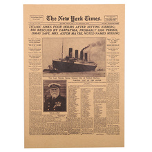 1 Pcs New York Times Kraft Paper Bar Poster Retro Historical Moment Poster Decorative Wall Sticker(China)