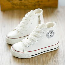 2017 new spring autumn children shoes girls Fashion child canvas shoes boys high shoes baby shoes white sneaker toddler(China)