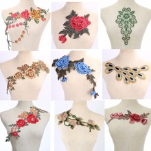 Craft collar Venise Sequin Floral Embroidered Applique Trim Decorated Lace Neckline Collar Sewing Free Shipping(China)
