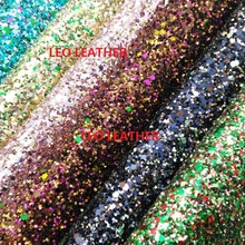 6PC A4 SIZE Mixed Color Chunky Glitter Leather Faux Pu Leather For Sewing DIY Accessories SK39AB