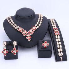Wedding Women Fashion Crystal Jewelry Sets Bridal Party Accessories Gold Color Necklace African Beads Jewerly Sets 6 Colors