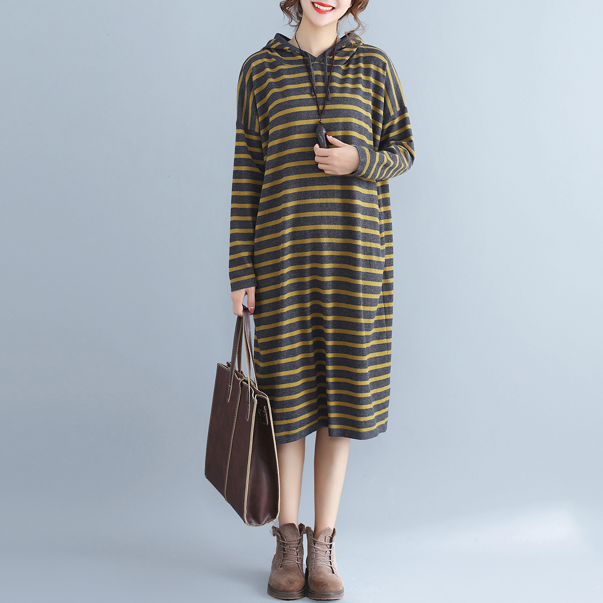 Ladies Oversized Loose Dress New Autumn and Winter Hoodies Knitted Vestidos Clothes Stripe Hooded Dresses Plus SizeÎäåæäà è àêñåññóàðû<br><br>
