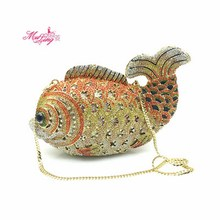 Fish Crystal Casual Clutch Evening Bags Women Diamond Day Clutches Rhinestones Wedding Bag Handbags Gold Color Purse Gifts Box