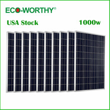 ECO-WORTHY USA Stock 1KW 10pcs 100w Solar Panel 12v Polycrystalline Solar Panel for 12v Battery off Grid System(China)