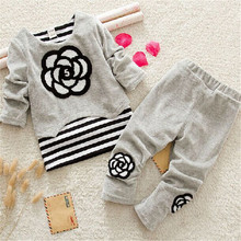 BibiCola New Winter Clothes baby Girls Clothing Sets Velvet  High Qulity Long Sleeve Sport Suit toddler Outfits Spring Costume
