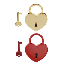 New Hot Vintage Heart Shape Padlock w/ Key Tiny Suitcase Crafts Lock Set Lovers Heart Locks Creative Birthday Gifts Presents