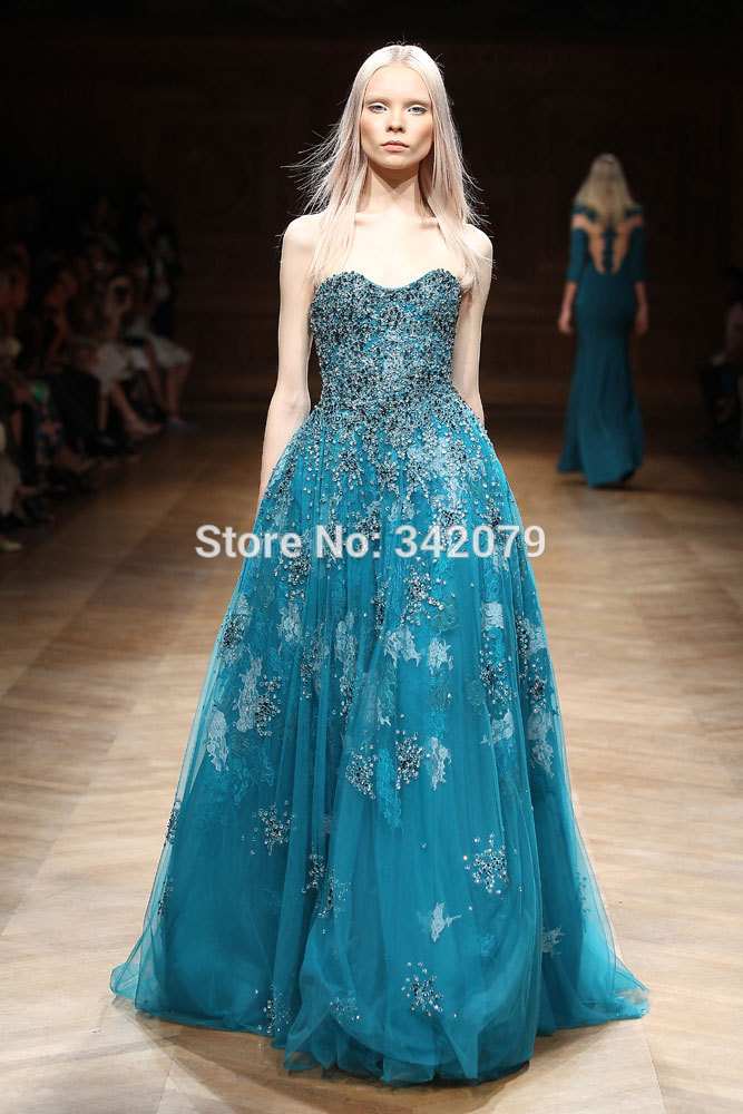 ph15553 teal blue ball gown embroidered sweetheart shaped corset tulle cascading tony ward couture 2015 wedding guest dresses