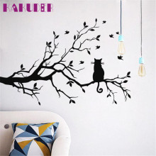 KAKUDER Cartoon Cat On Long Tree Branch Wall Sticker Animals Cats Art Decal Kids Room Decor  vinilos paredes U6627