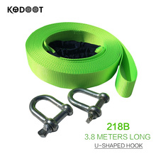 3.8M Car trailer rope traction ropes 8tons double tow rope nylon green fluorescent band thickening trailer ropes KODOOT 2018B(China)