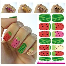 V648 Water Transfer Nail Sticker Minx Cute Cartoon Watermelon Design Nails Art Decoration Manicure Foil Decals Free Shipping
