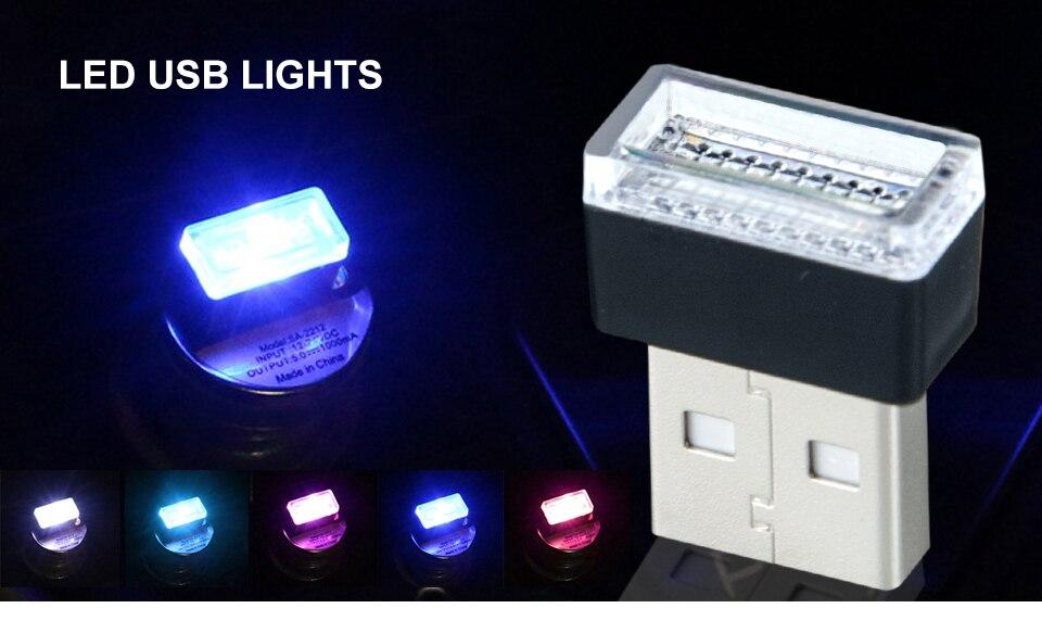 Mini Wireless Car Atmosphere Light LED USB Night Light Cigarette Lighter Decorative Lights Car Styling Truck PC Laptops Kit (1)