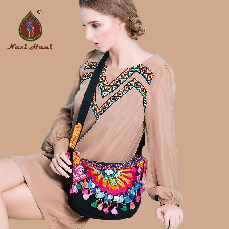 Online Hot Bohemia black canvas Hobos bags Ethnic embroidered handmade tassel shell messenger shoulder bags<br><br>Aliexpress