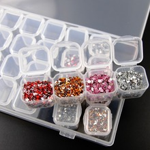 Clear Plastic 28 Slots Empty Storage Box Nail Art Rhinestone Tools Jewelry Beads Display Storage Box Case Organizer Holder(China)
