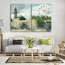 Free Shipping E-HOME Lighthouse on The Beach Clock in Canvas 2pcs wall clock