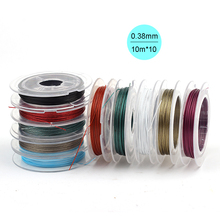 Diy 0.38mm 27 gauge 10pcs*10m Nylon Coated Colored Steel Tiger Tail Wire Jewelry Beading Soft Artistic Wire Assorted 10 Spools
