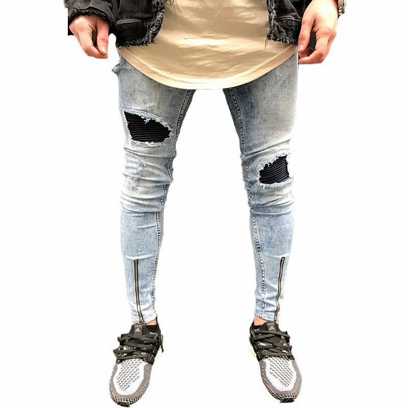 Streetwear denim pants Popular Snowflake Whitish Mens Jeans Washed Spliced Hole Jeans Casual Mens Slim Fit Jogger JeansÎäåæäà è àêñåññóàðû<br><br>