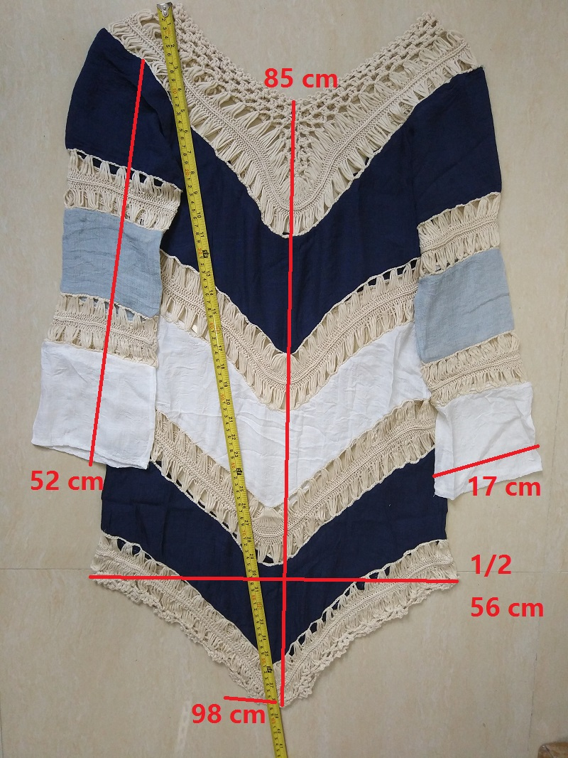 Bkning Red Patchwork 17 Pareo Beach Cover Up Women Sexy Beach Bathing Suits V Neck Cotton Cover-Ups Free Size Swim Wear B358 3