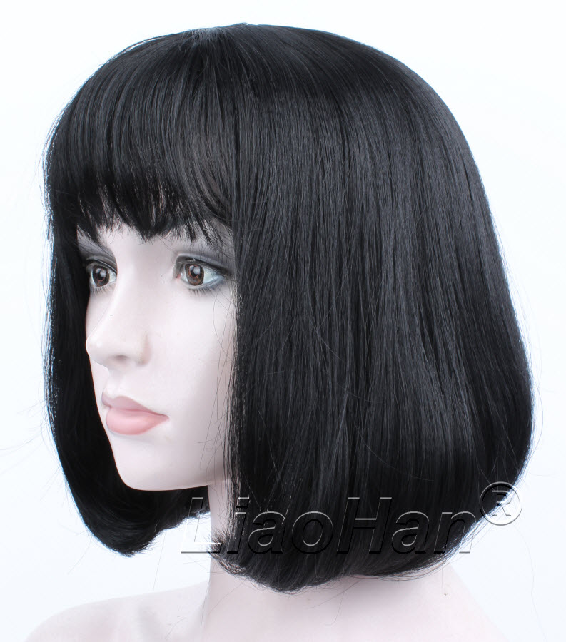Fashion Black Short Wig Short Black Bob Wig with Fringe Bang Short Black Hair Wigs for Women<br><br>Aliexpress