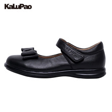 KALUPAO Children School Uniform Shoes Girls Dress Shoes bowtie Black Leather shoes Pretty Comfortable For Kid Grils(China)
