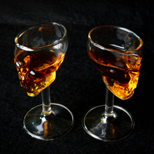Creative mini tall skull cup glass whisky glass wine glass bone cocktail vodka 2pc/set glasses canecas bar(China)