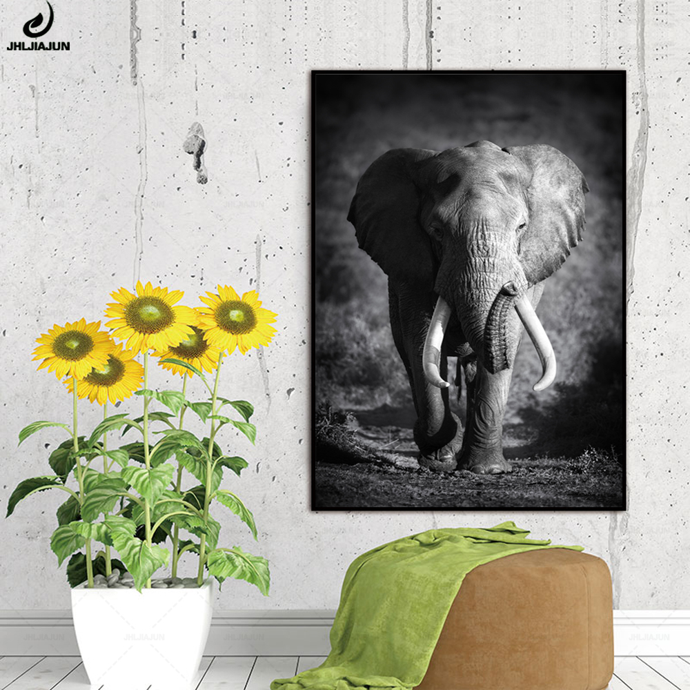Wild Animal Elephant Poster Wall Art Canvas Painting