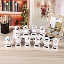 ABS Solar Powered Cute Shaking Head Snowman Figure Car Decoration Ornament Emoji Snowman Swinging Dancer Automobiles Ornaments(China)