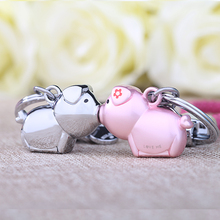 Milesi 3D kiss pig couple keychain for Lovers Gift Trinket lovely key holder women present Chaveiro Innovative Items with K0192