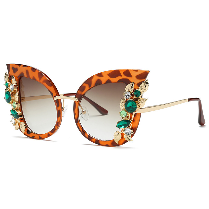 Sport Sunglasses Cycling Eyewear Womens Fashion Artificial Diamond Cat Ear Metal Frame Brand Classic Sunglasses #2J06#F (2) -