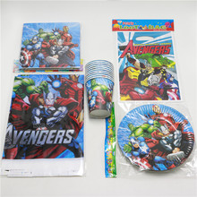 movie avengers allience party boys favor supplies tablecloth napkin loot bag 51pcs/lot for birthday party decoration10people use