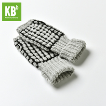 2017 Spring KBB Soft Light Gray Black Boxed Stripe Fashion Design Men Children Women Knit Winter Fingerless Gloves Mitten(China)