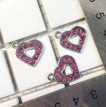 Free Shipping!10PCS Pink Rhinestone Heart Enamel Hang Pendant Fit Phone Strips Wristband Belt Tags Collar Tags