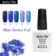 Belle Fille UV Nail Polish Gel Manicure Fingernail Polish Sky Blue series Long Lasting Dark Blue Colors Nail Gel Lacquer(China)
