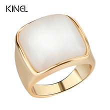 Kinel Luxury White Opal Ring For Women Fashion Dubai Gold Jewelry Simple Big Wedding Ring Christmas Gift 2017 New