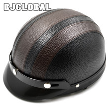 Hot Sales Motorcycle Synthetic Leather Men Women Vespa Open Face Half Retro Motocross Scooter Helmet Motor Head Protecter(China)