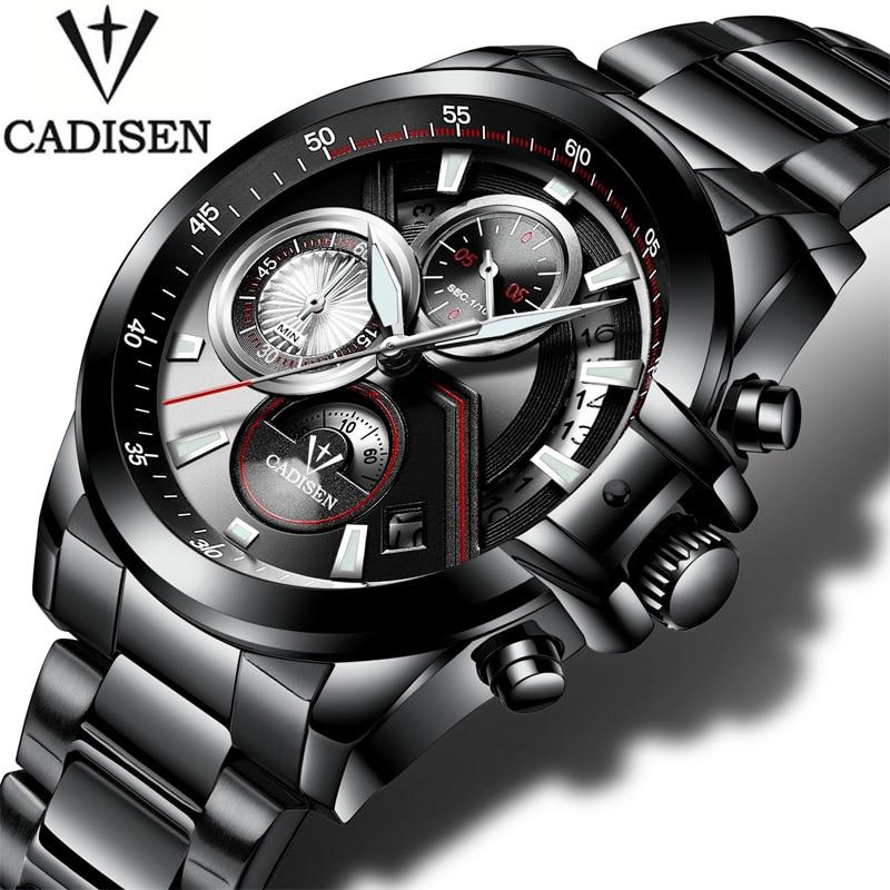 relogio masculin Cadisen Mens Watch Auto Date Military Sport Watches Men Waterproof Stainless Steel Quartz Watch Men army Clock <br>