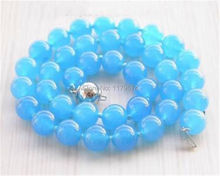 "Hot New  Free new  Beautiful Natural  Elegant 10mm Blue Chalcedony Necklace 18"" Jewelry sp221"