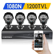 DEFEWAY 1200TVL 720P HD Outdoor Home Security Camera System 4CH  1080N HDMI DVR CCTV Video Surveillance Kit AHD Camera Set