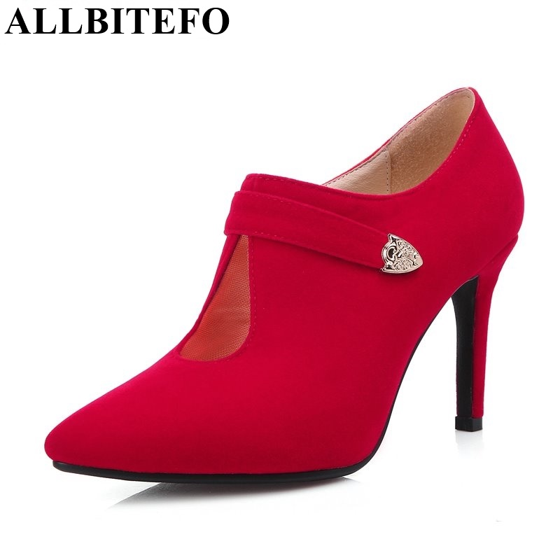 ALLBITEFO size EU 33-43,fashion women pumps 2016 spring ladies high heel shoes woman wedding party red pumps femme chaussure<br><br>Aliexpress