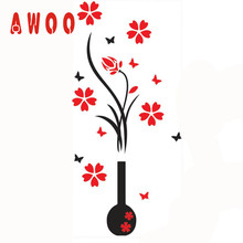wall sticker 2017 Hot New 102*46CM DIY Vase Flower Tree Arcylic 3D Wall Stickers Decal Home cute Wall Art Decoration 17MAY4(China)